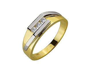 Золота каблучка з діамантами 01-17548000 фотографія