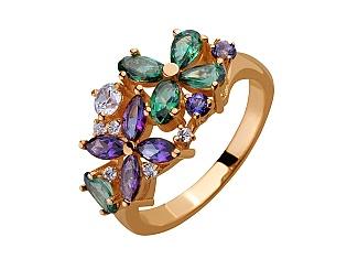 Золотое кольцо с топазами и фианитами 1б_к-159 фотография
