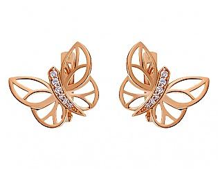 Золоті сережки з фіанітами 1б_с-073 фотографія