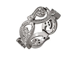 Золота каблучка з діамантами 01-17353802 фотографія