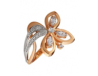 Золотое кольцо с фианитами и циркониями 8к-247 фотография
