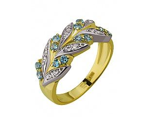 Золотое кольцо с фианитом и шпинелем 9б_к-015 фотография