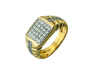 Золота каблучка з діамантами 01-17245203 фотографія