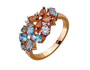 Золотое кольцо с топазами и цитрином и фианитами 1б_к-159 фотография