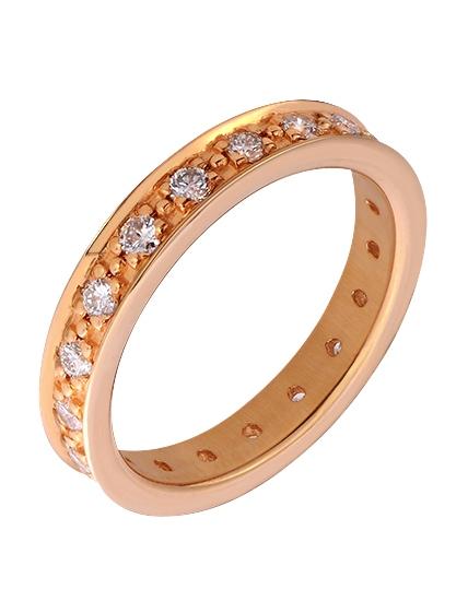 """Золотое обручальное кольцо 585 пробы с бриллиантами (15-000085067) """"Ювелирная карта"""""""