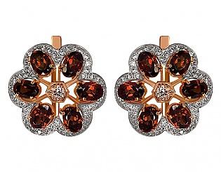 Золоті сережки з гранатами і фіанітами 8б_с-019 фотографія