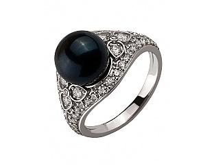 Золотое кольцо с бриллиантами и жемчугом 2б_к-128 фотография