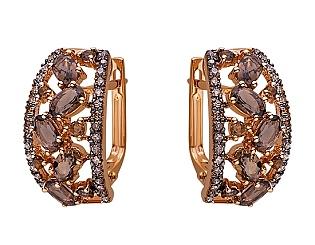Золоті сережки з кварцами 01-17520204 фотографія