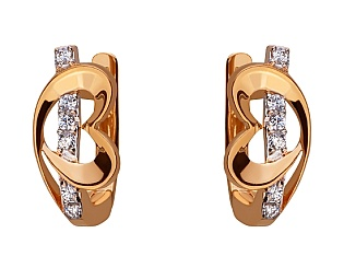 Золоті сережки з цирконієм куб. 01-17624606 фотографія
