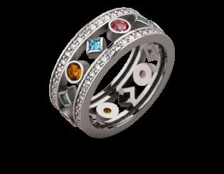 Золота каблучка з топазами і цитринами і діамантами 2б_к-157 фотографія