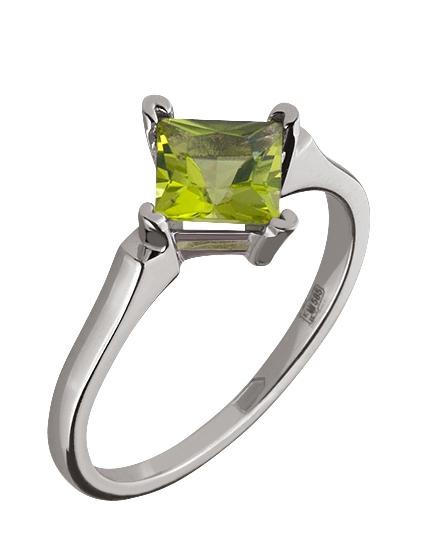 """Золотое кольцо 585 пробы с хризолитом (15-000066706) """"Ювелирная карта"""""""