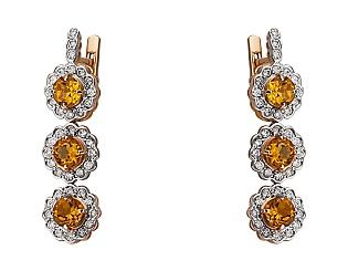Золотые серьги с бриллиантами и цитринами 4-с-1227 фотография