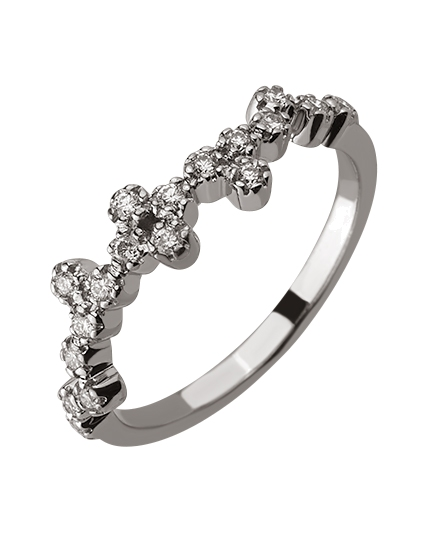 Золота каблучка з діамантами 01-17441107 фотографія