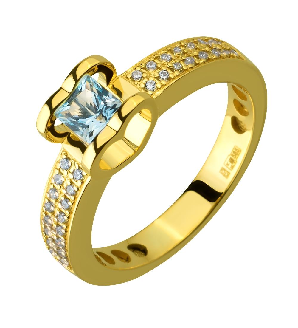 Золотое кольцо с фианитами и топазами 3б_к-199 фотография