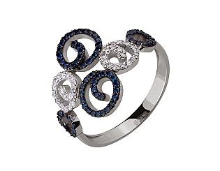 Золотое кольцо с сапфиром и бриллиантами 11б_к-207 фотография