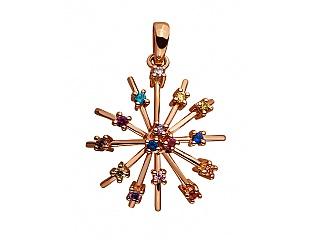 Золотой кулон с фианитами и шпинелью синтетической и алпанитами 1б_п-013 фотография