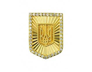 Золота брошка з цирконієм куб. 3знч-001 фотографія