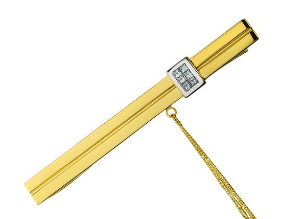 """Золотой зажим для галстука 750 пробы с бриллиантами (01-16231608) """"Ювелирная карта"""""""