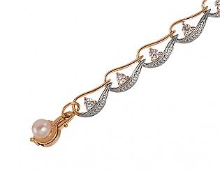 Золотий браслет з цирконіями і перлинами 8б-019 фотографія
