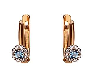 Золоті сережки з цирконієм куб. 01-17642509 фотографія