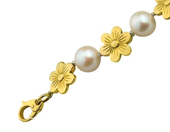 Золотой браслет с жемчугом 3б_б-002 фотография 2
