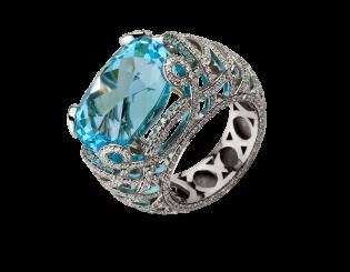 Золота каблучка з діамантами і топазом 2б_к-162 фотографія