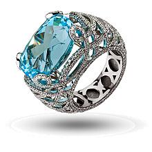 Золотое кольцо с бриллиантами и топазом (2б_к-162)