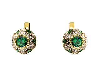 Золоті сережки з топазами і діамантами 3б_с-148 фотографія