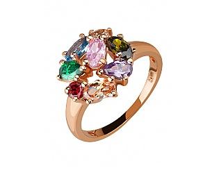 Золотое кольцо с фианитами и циркониями и шпинелью синтетической 1к-173 фотография