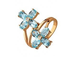 Золотое кольцо с фианитом и топазом 1к-244 фотография