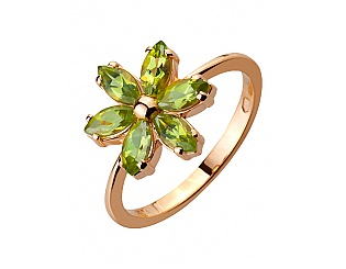 Золотое кольцо с перидотом 1к-261 фотография