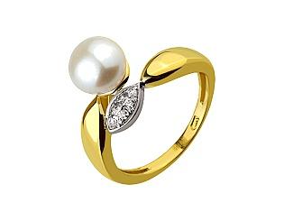 Золотое кольцо с фианитом и жемчугом 9б_к-142 фотография
