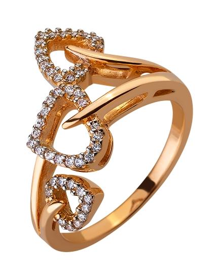 Золотое кольцо с цирконием куб. 01-17579010 фотография 1
