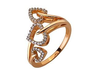 Золотое кольцо с цирконием куб. 01-17579010 фотография