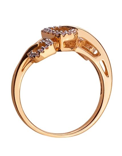Золотое кольцо с цирконием куб. 01-17579010 фотография 2