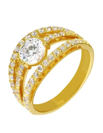 """Золотое кольцо 585 пробы с фианитами (15-000067212) """"Ювелирная карта"""""""