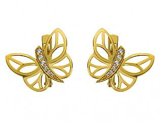 Золоті сережки з цирконіями 3б_с-073 фотографія