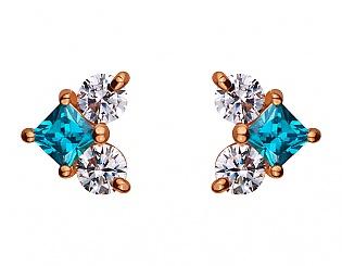Золоті сережки з цирконієм куб. і фіанітом 1б_с-079 фотографія