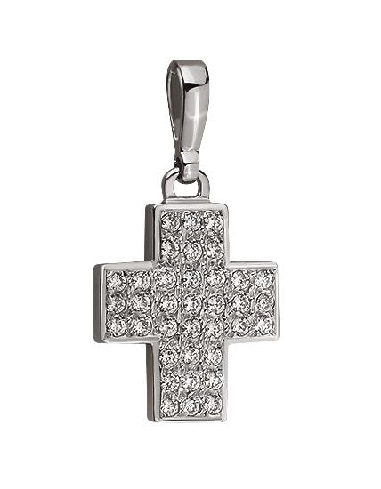 Золотой крестик 585 пробы c фианитами (01-15921311)