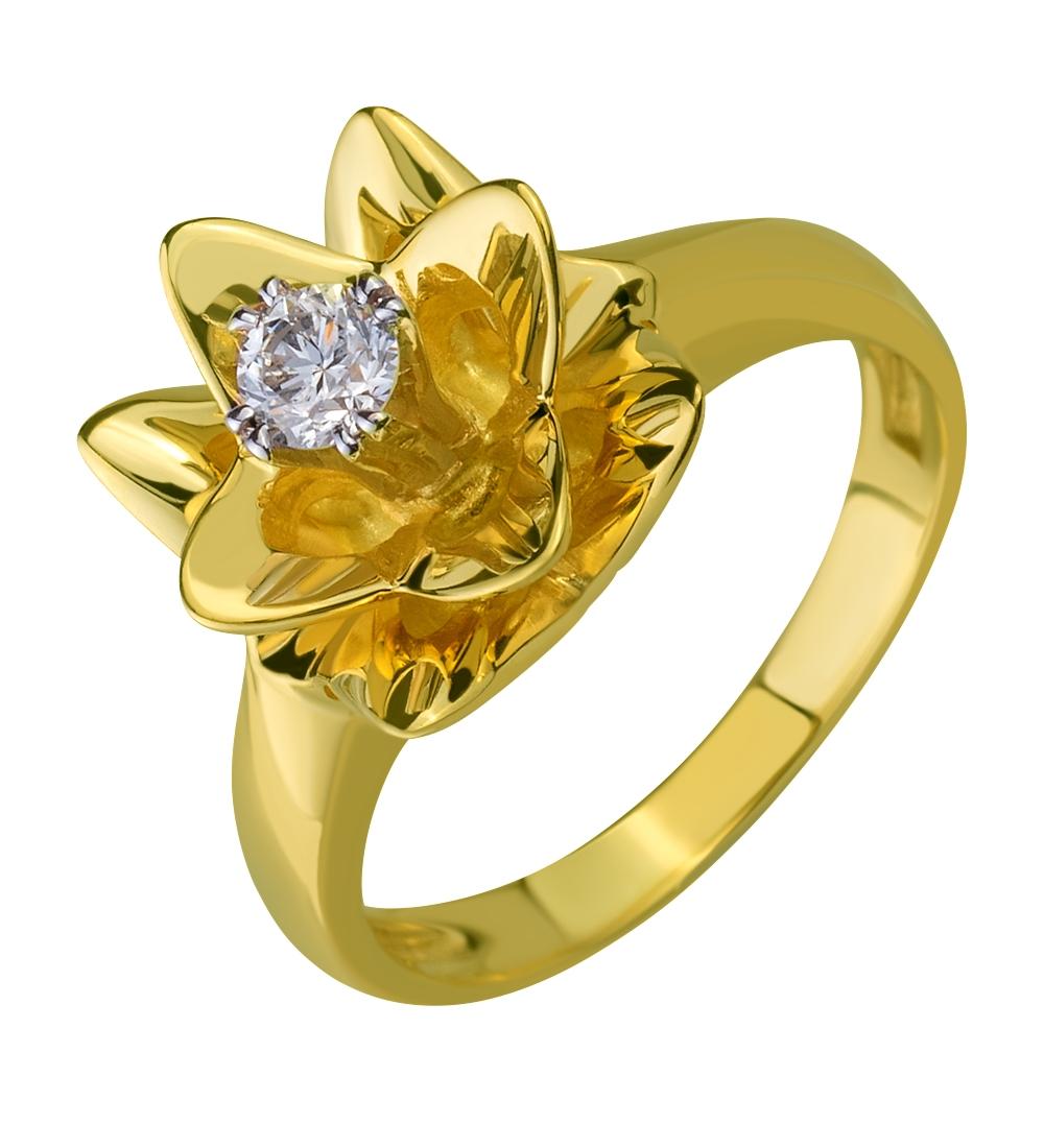 Золотое кольцо Лотос с бриллиантом 95c10a8df6f3b