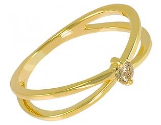 Золота каблучка з діамантом 3к-002 фотографія