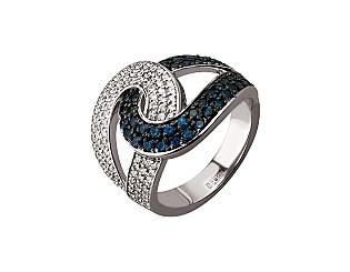Золотое кольцо с бриллиантом и сапфиром 11б_к-160 фотография