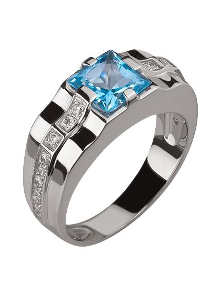 Золотой перстень 585 пробы с топазом и фианитами (15-000069708)