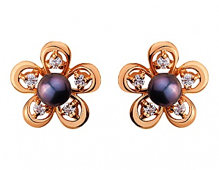 Золоті сережки з цирконієм куб. і перлиною 1с-119 фотографія