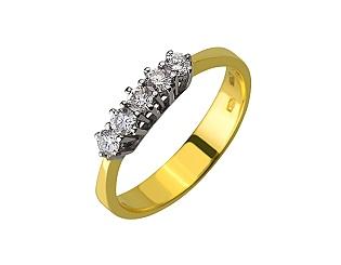 Золота каблучка з діамантом 01-17635612 фотографія