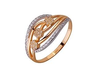 Золотое кольцо с цирконием куб. 01-17656512 фотография