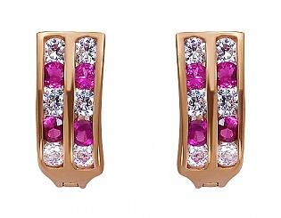 Золоті сережки з цирконіями 1-с-13 фотографія