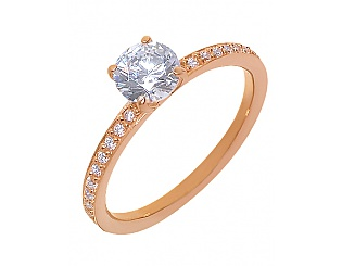 Золотое кольцо с фианитами 1к-266 фотография