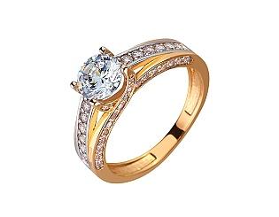 Золотое кольцо с цирконием куб. 01-17522513 фотография