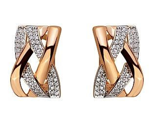 Золоті сережки з цирконієм куб. 01-17620813 фотографія
